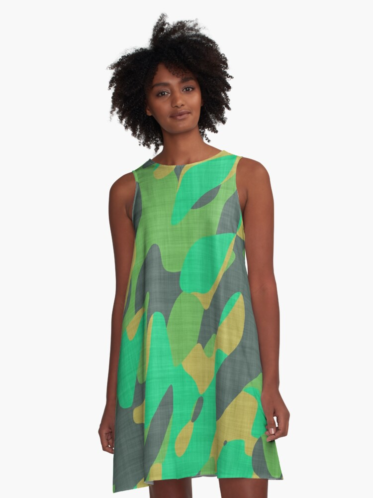 orange and green camo abstract A-Line Dress Front
