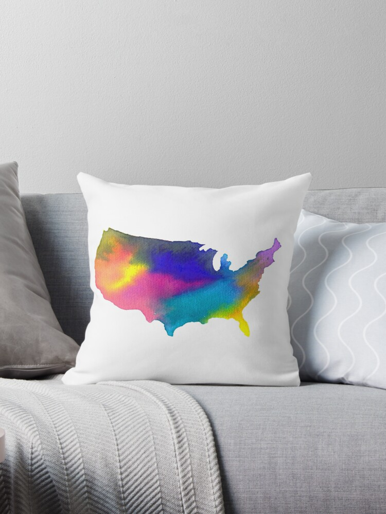 Rainbow Watercolor United States of America by sadiesavesit