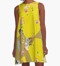 Crazy Yellow Pop // Abstract Scribble Pattern A-Line Dress