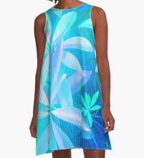 Tropical neon foliage print A-Line Dress