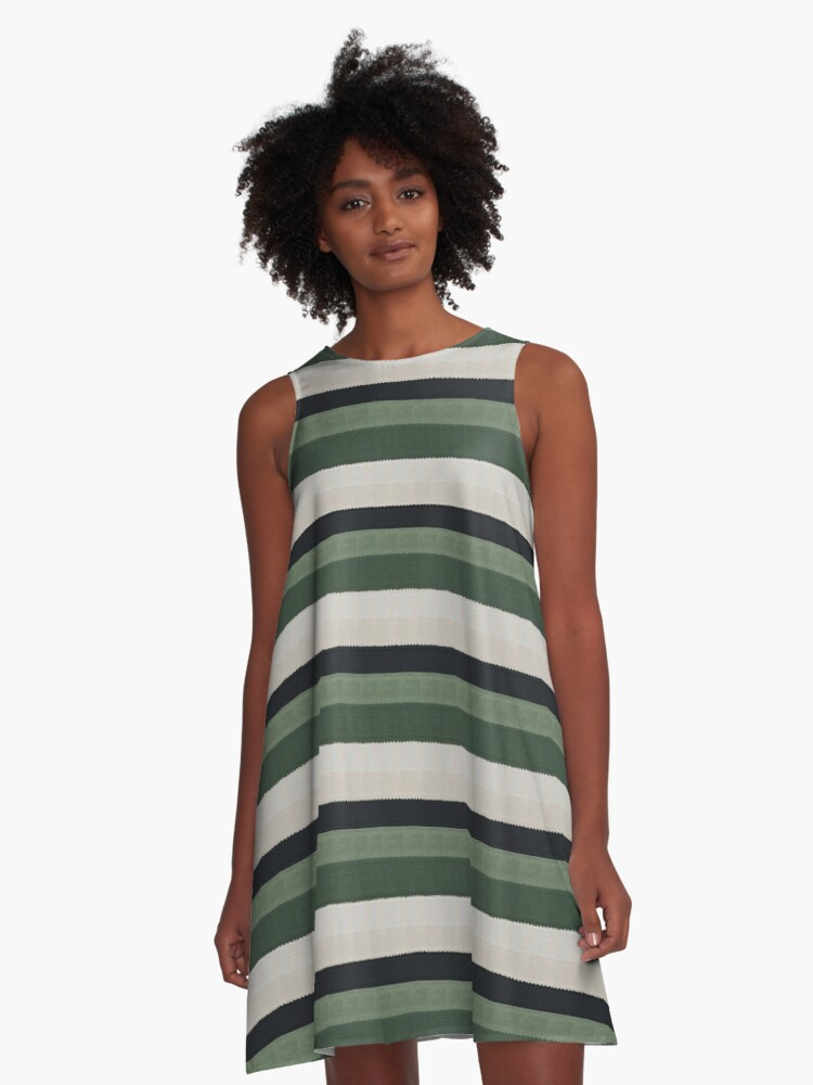 Green lines A-Line Dress Front