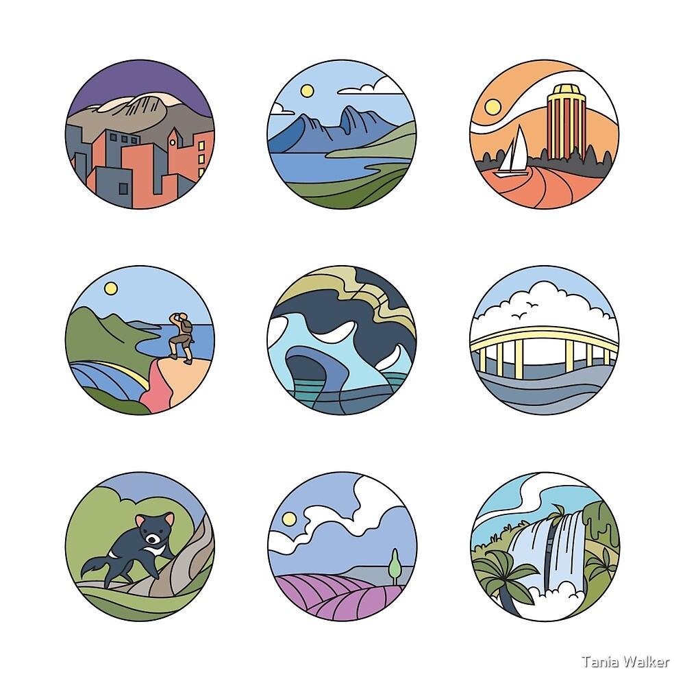 Round Tasmania Vignettes by Tania Walker