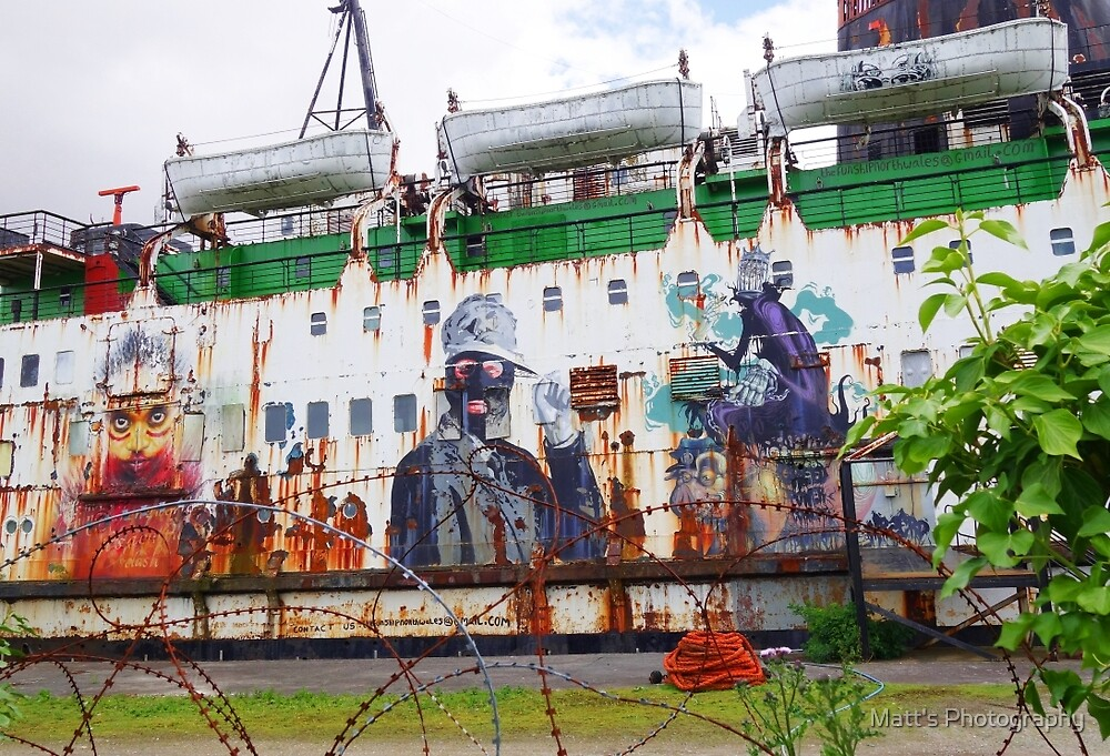 Rust and Graffiti on an old Ship by Matt's Photography