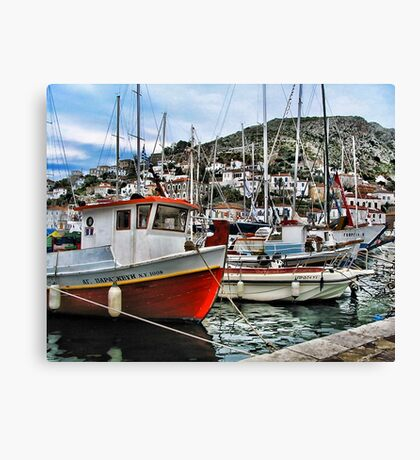 Colorful Fishing Boats - Island of Aegina,  Greece Canvas Print