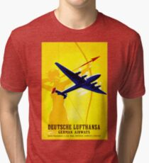 """DEUTSCHE LUFTHANSA"" German Airway Advertising Print Tri-blend T-Shirt"