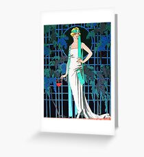 RED ROSES IN THE NIGHT, ART DECO BEAUTY FASHION Greeting Card