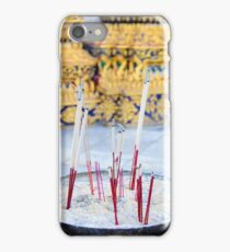 Bowl with joss sticks iPhone Case/Skin
