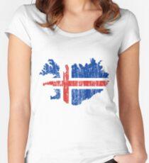 Island Distressed Map Flag Tailliertes Rundhals-Shirt