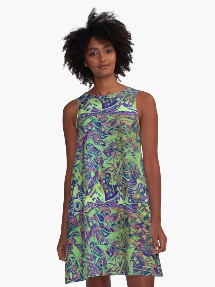 """Fancy Foot Work - Mustard Greens"" A-Line Dress Front"