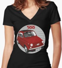 Fiat 500F red Women's Fitted V-Neck T-Shirt