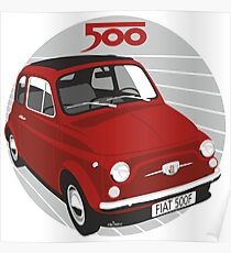 Fiat 500F red Poster