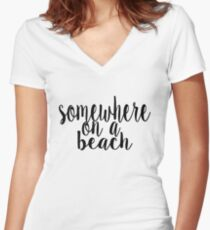 Somewhere on a Beach Women's Fitted V-Neck T-Shirt