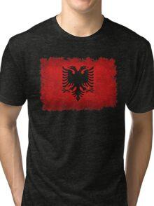 Flag of Albania - Super Grunge Tri-blend T-Shirt
