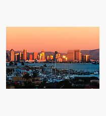 San Diego Skyline Sunset Photographic Print