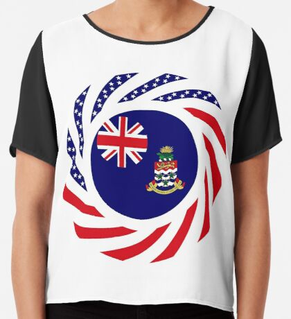 Caymanian American Multinational Patriot Flag Series Chiffon Top