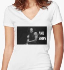 Guns and Ships Women's Fitted V-Neck T-Shirt