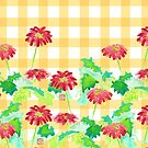 Watercolor Red Gerbera Gingham Yellow Weave Pattern by Beverly Claire Kaiya