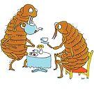 Flea having a cup tea by Joel Tarling