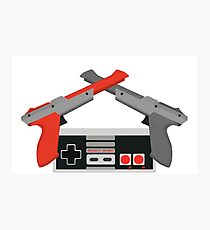 Crossed NES Zappers and Controller Photographic Print