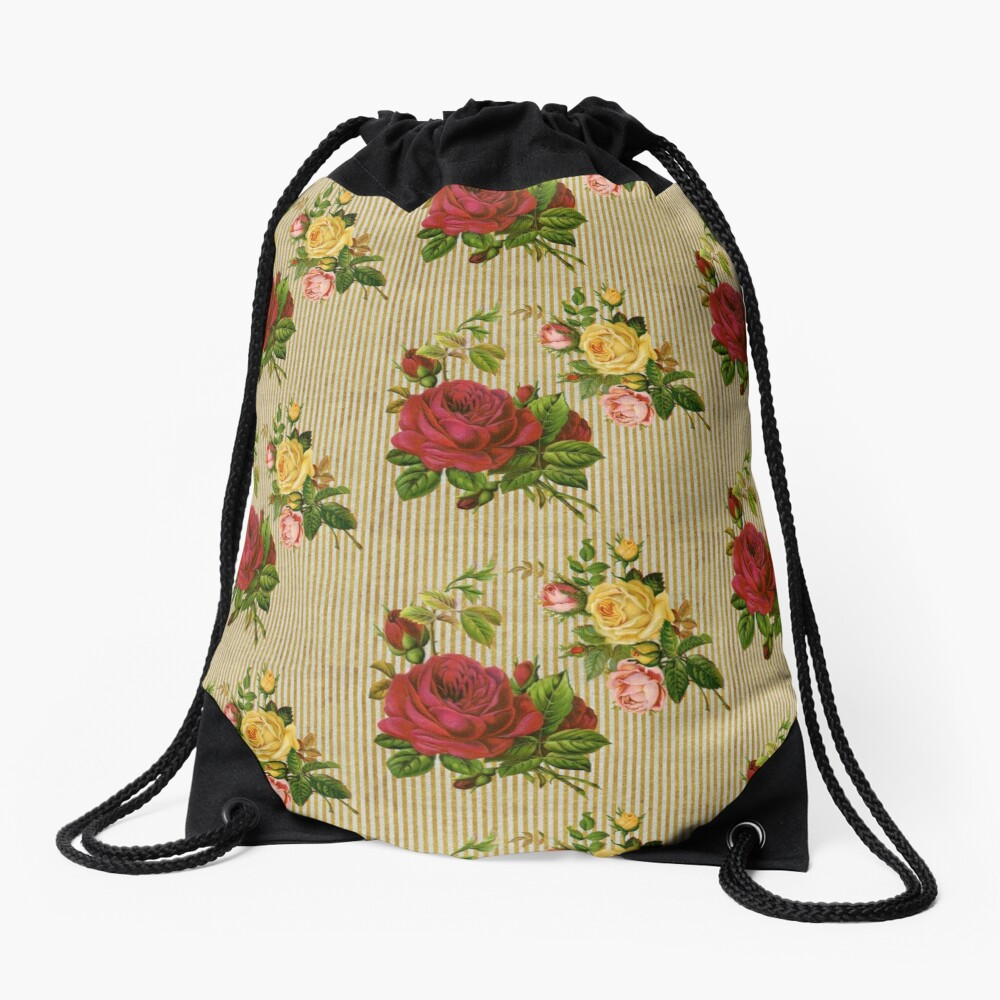 Vintage Red Yellow Peach Roses Gold Silver Glitter Stripes Drawstring Bag Front