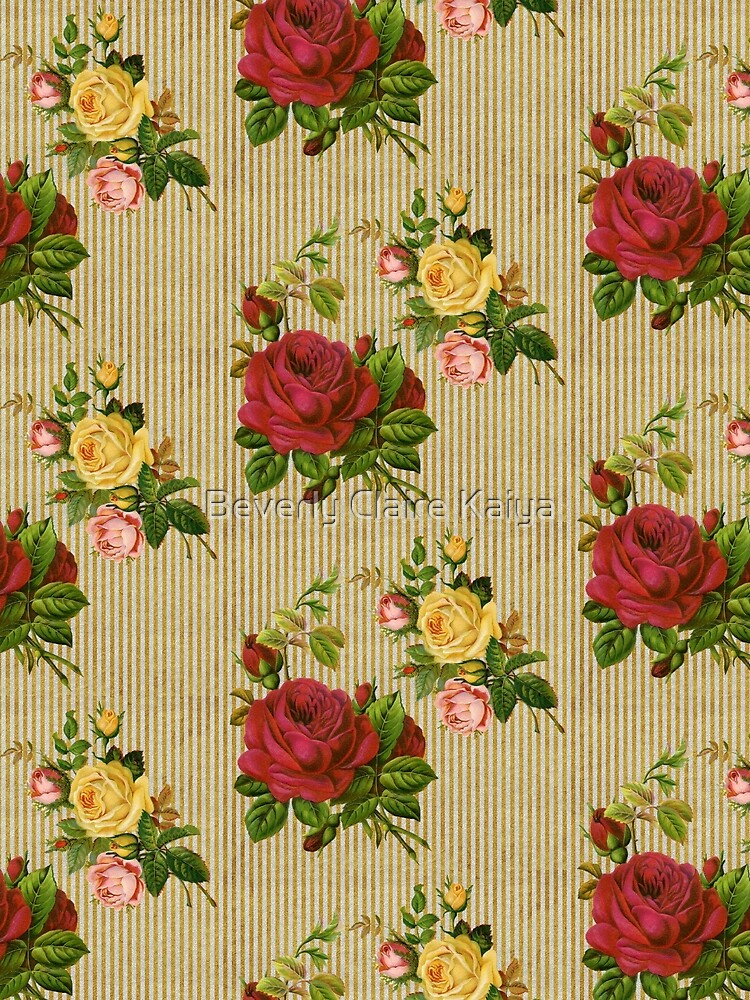 Vintage Red Yellow Peach Roses Gold Silver Glitter Stripes by beverlyclaire