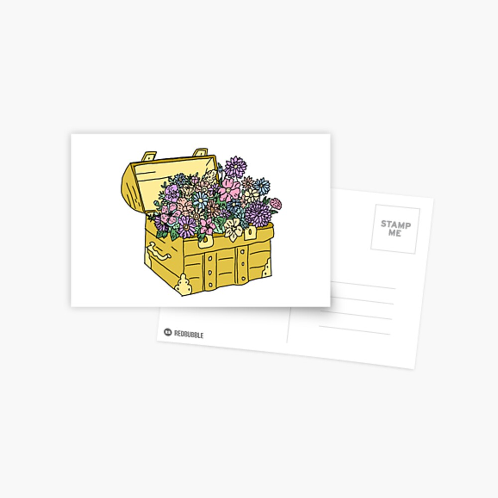 flowers in treasure chest Postcard