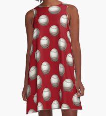 Baseball auf rotem Hintergrund A-Linien Kleid