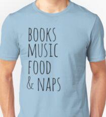 books, music, food & naps Slim Fit T-Shirt