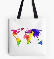 Rainbow Watercolor World Map Tote Bag