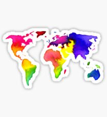 Rainbow Watercolor World Map Sticker