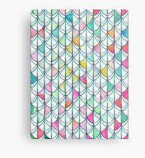 Pencil & Paint Fish Scale Cutout Pattern - white, teal, yellow & pink Metal Print