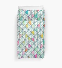 Pencil & Paint Fish Scale Cutout Pattern - white, teal, yellow & pink Duvet Cover