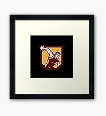 Discus Thrower Shield Woodcut Framed Print
