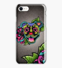 Smiling Pit Bull in Black - Day of the Dead Happy Pitbull - Sugar Skull Dog iPhone Case/Skin