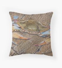 Crab In A Trap Throw Pillow
