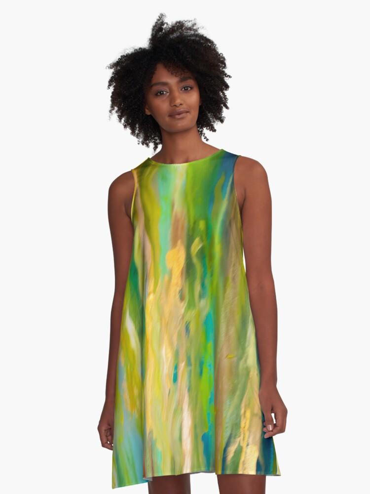 Springtime Drizzle A-Line Dress Front