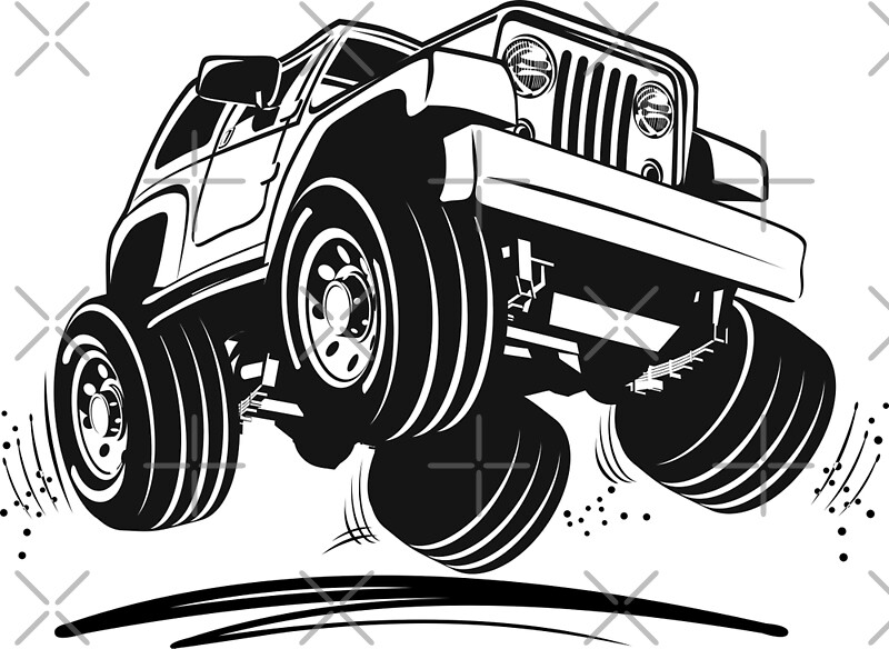 Quot Cartoon Jeep Wrangler Quot Posters By Mechanick Redbubble