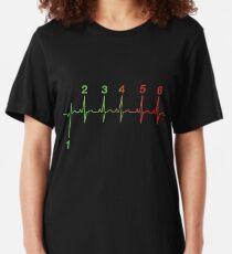 Motorcycle Heartbeat Gear Shift RPM EKG Slim Fit T-Shirt
