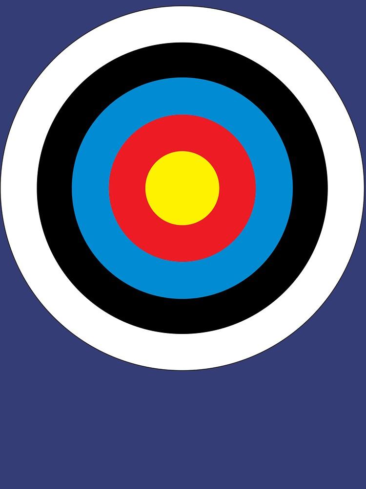 Bulls Eye, Right on Target, Roundel, Archery, on NAVY by TOMSREDBUBBLE