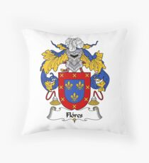Flores Coat of Arms/Family Crest Throw Pillow