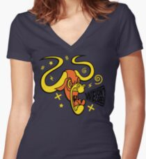 We Don't Care Angry Orange Bull Women's Fitted V-Neck T-Shirt