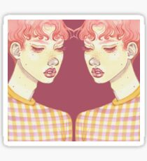mirrored Bubblegum Boy with purple back drop Sticker