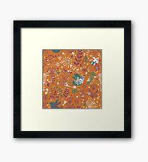 Rust, Teal, Purple Mosaic Birds and Flowers Framed Print