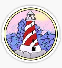 lighthouse and ocean circle Sticker