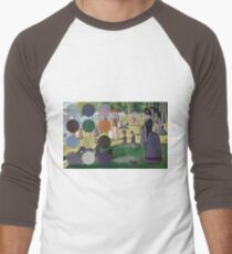 A Sunday Afternoon on the Island of La Grande Jatte Modernized Men's Baseball ¾ T-Shirt