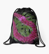 Hawaiian Double Orchid Lei and Leaf Drawstring Bag