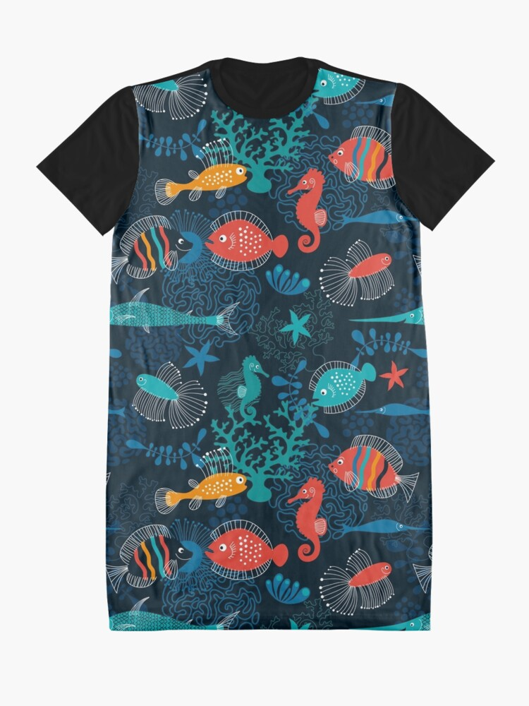 Alternate view of Tropical Fish Under the Sea Graphic T-Shirt Dress