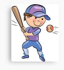 Sports people playing cricket cartoon Canvas Print