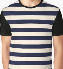Navy Ivory Bold Stripes Graphic T-Shirt