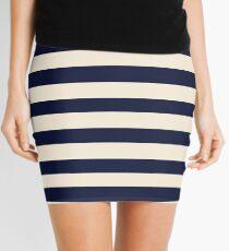 Navy Ivory Bold Stripes Mini Skirt